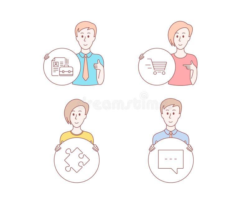 Acquisto di consegna, icone di offerta di l$voro e di strategia Segno del blog Acquisto online, puzzle, lavoro di noleggio Messag illustrazione di stock