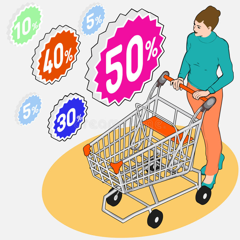 Acquisto di drogheria isometrico - vendita - donna di camminata con Sho vuoto illustrazione vettoriale