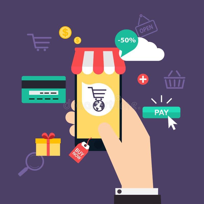 Acquisto e commercio elettronico online di concetto Icone per il marketi mobile illustrazione vettoriale