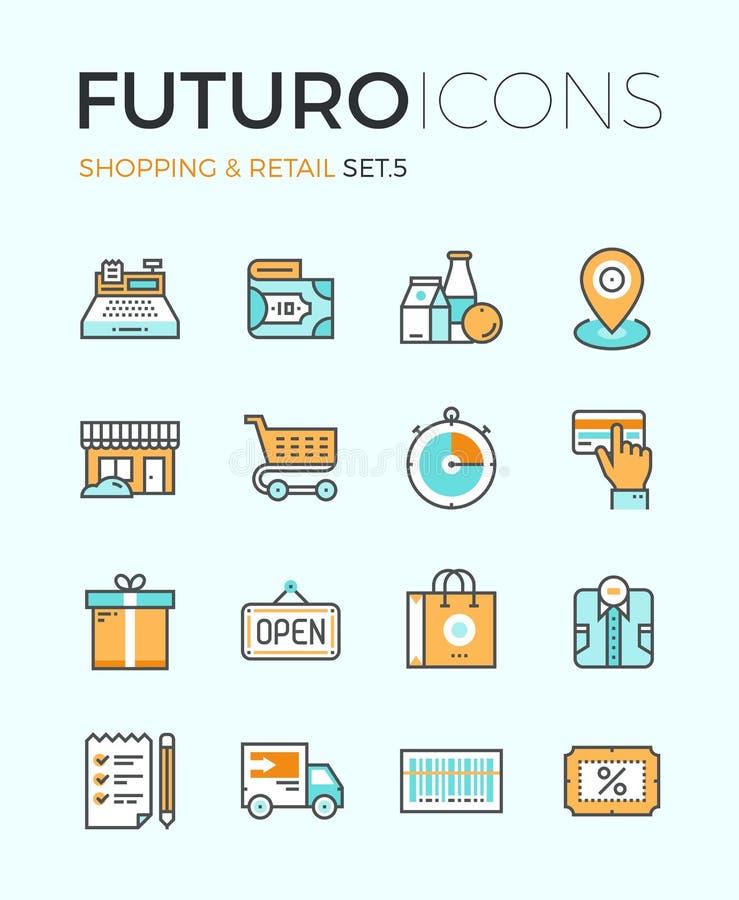 Acquisto e linea al minuto icone di futuro illustrazione vettoriale