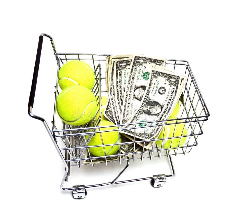 Acquisto e risparmio - sfere di tennis fotografia stock