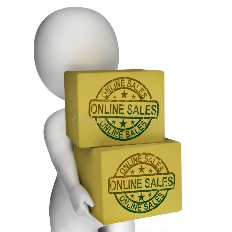 Acquisto e vendita online di manifestazione delle scatole di vendite illustrazione vettoriale
