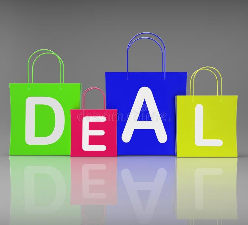 Acquisto ed acquisto di vendita al dettaglio di manifestazione delle borse di affare illustrazione vettoriale