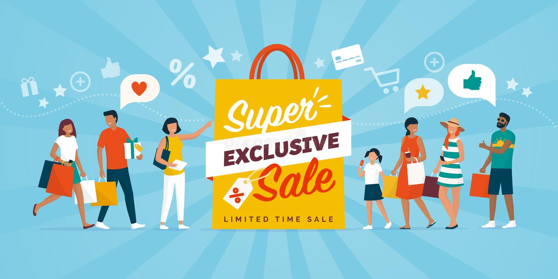 Acquisto esclusivo di sconti e della gente di vendita royalty illustrazione gratis