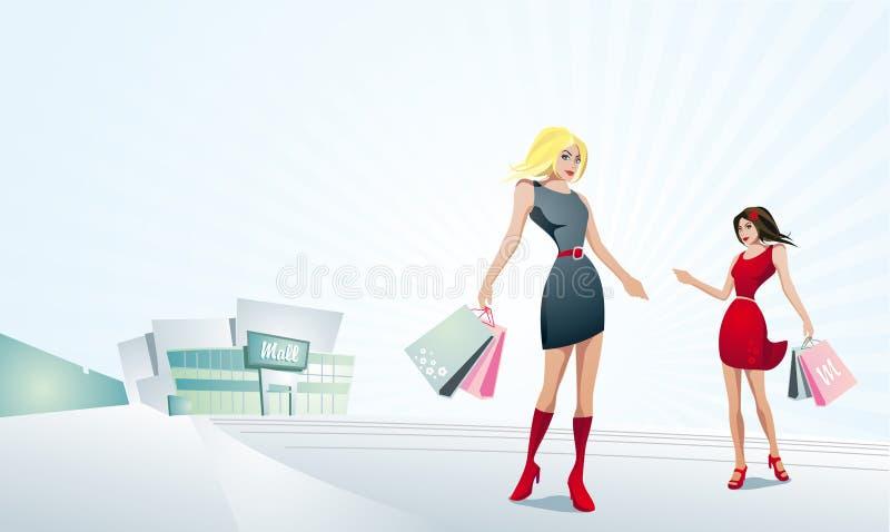 Acquisto grazioso delle donne. illustrazione di stock
