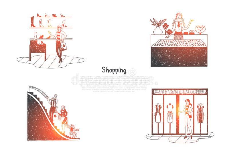 Acquisto - la gente nei centri commerciali che esaminano le finestre del negozio e che fanno l'insieme di concetto di vettore deg illustrazione di stock