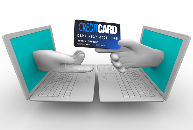 Acquisto in linea - carta di credito e computer portatili illustrazione vettoriale