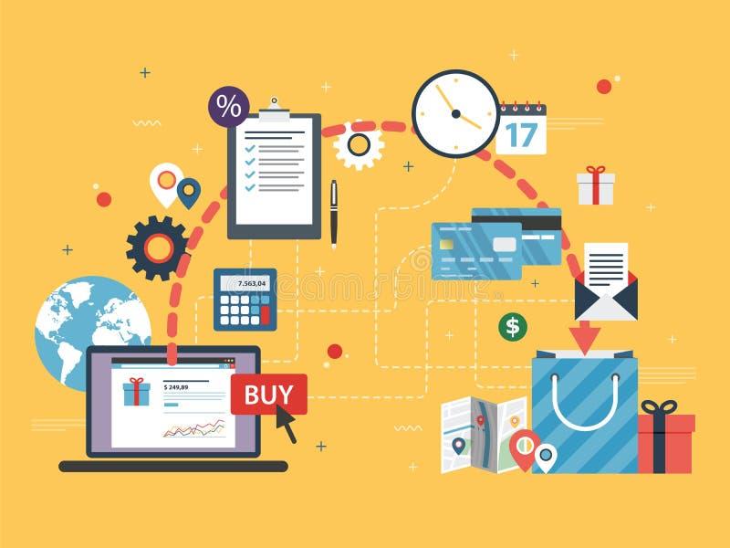 Acquisto in linea Commercio elettronico in Internet illustrazione vettoriale