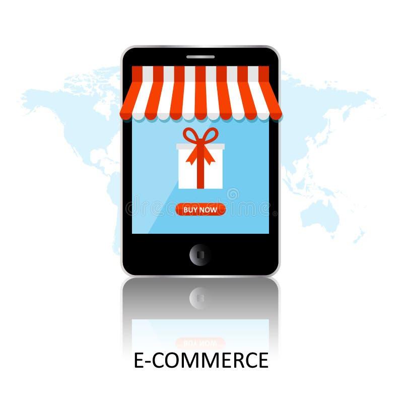 Acquisto in linea Smartphone si ? trasformato nel negozio di Internet Concetto dell'introduzione sul mercato e del commercio elet royalty illustrazione gratis