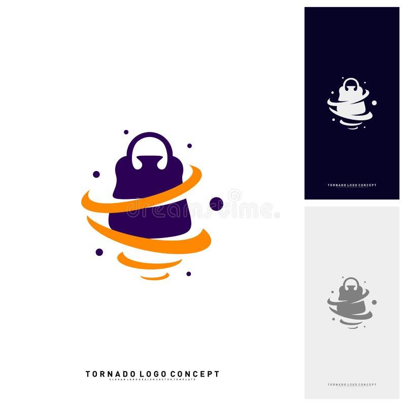 Acquisto Logo Design Concept Vector Vendita Logo Vector della tempesta Icona di vendita di tornado di torsione del negozio illustrazione vettoriale