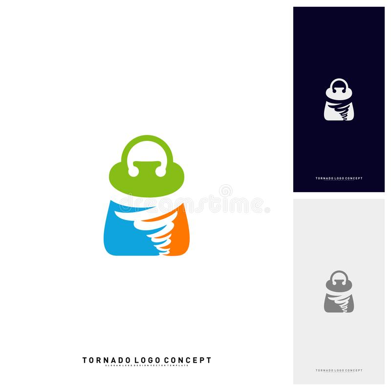 Acquisto Logo Design Concept Vector Vendita Logo Vector della tempesta Icona di vendita di tornado di torsione del negozio illustrazione di stock