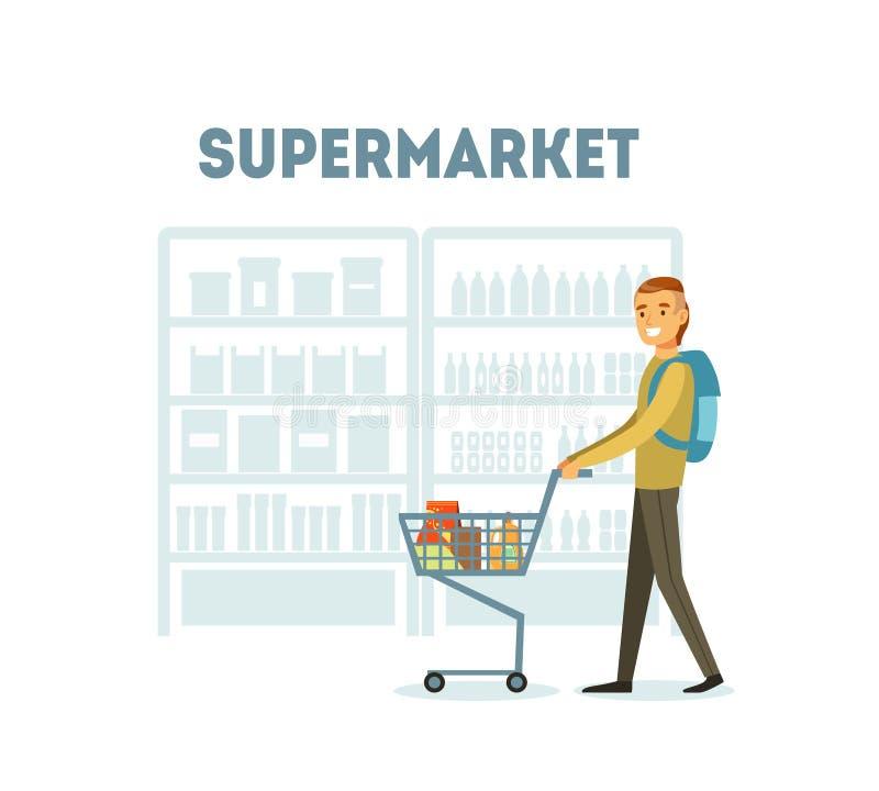 Acquisto maschio del compratore al supermercato con il carretto pieno delle drogherie, illustrazione quotidiana di vettore dell'a illustrazione di stock