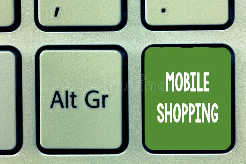 Acquisto mobile del testo di scrittura di parola Concetto di affari per l'acquisto e la vendita di beni e di servizi attraverso i immagine stock libera da diritti