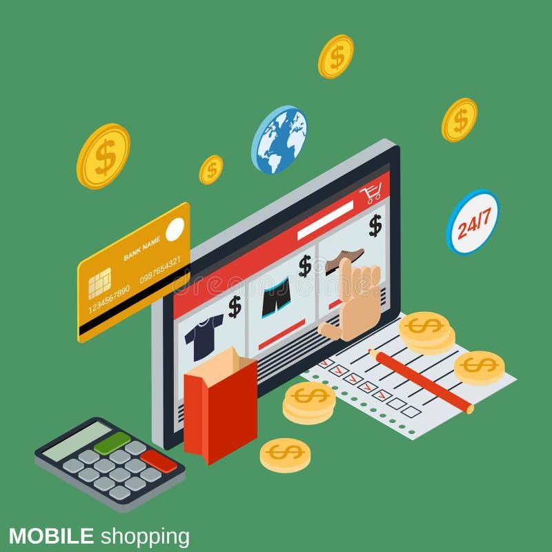 Acquisto mobile, deposito online, commercio distante, concetto di vettore di commercio elettronico illustrazione vettoriale