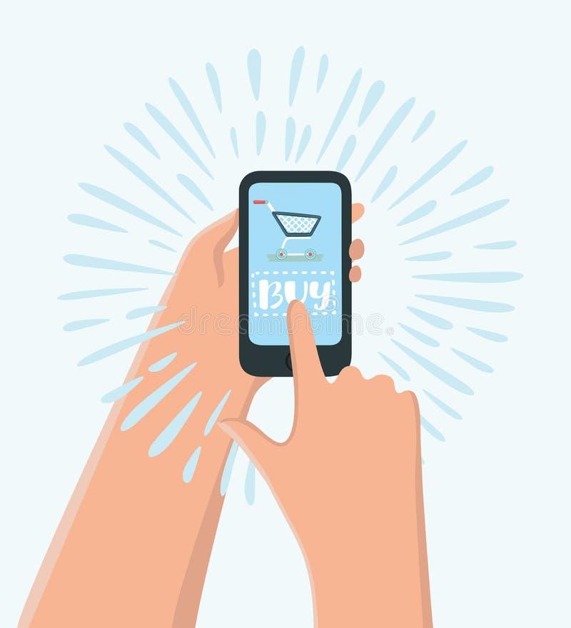 Acquisto online con i regali di natale intorno - equipaggi le mani che tengono la compressa con aggiungono al bottone del carrett illustrazione vettoriale