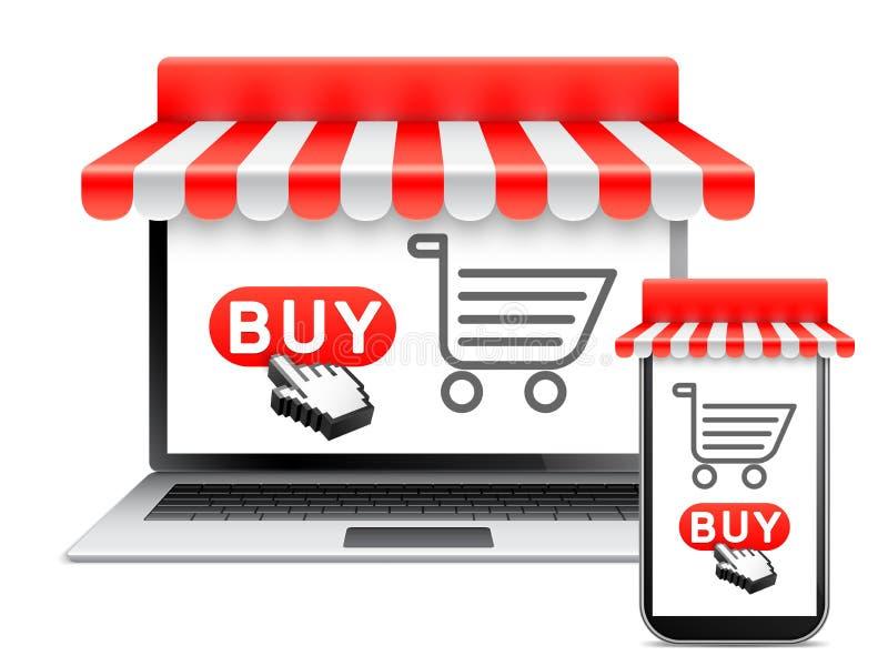 Acquisto online con il computer portatile ed il telefono fotografia stock