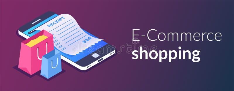 Acquisto online con lo smartphone Acquisto di commercio elettronico Sacchetto della spesa e ricevuta sui precedenti di un telefon illustrazione di stock