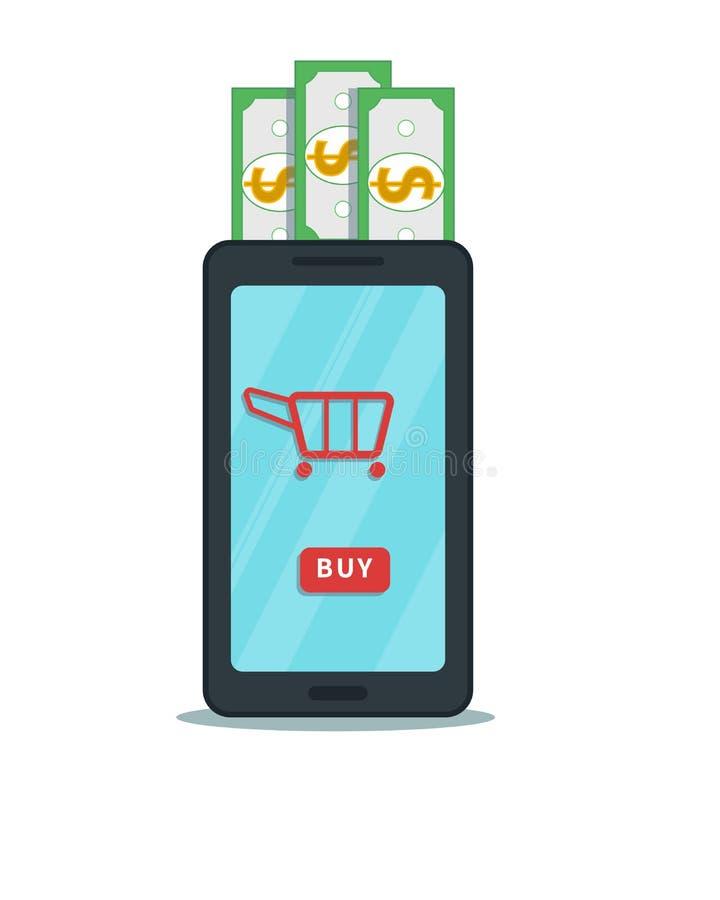 Acquisto online, concetto di affari di consumismo Smartphone piano con l'icona del bottone e del carretto dell'affare isolata illustrazione di stock