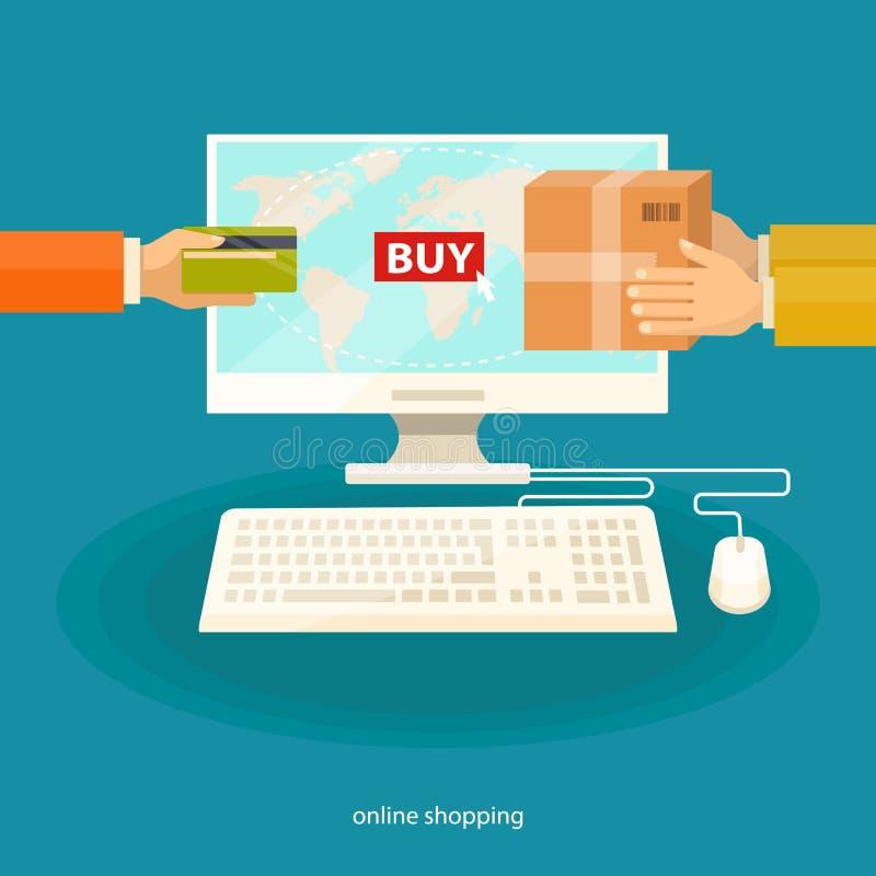 Acquisto online, concetto di commercio elettronico immagini stock libere da diritti
