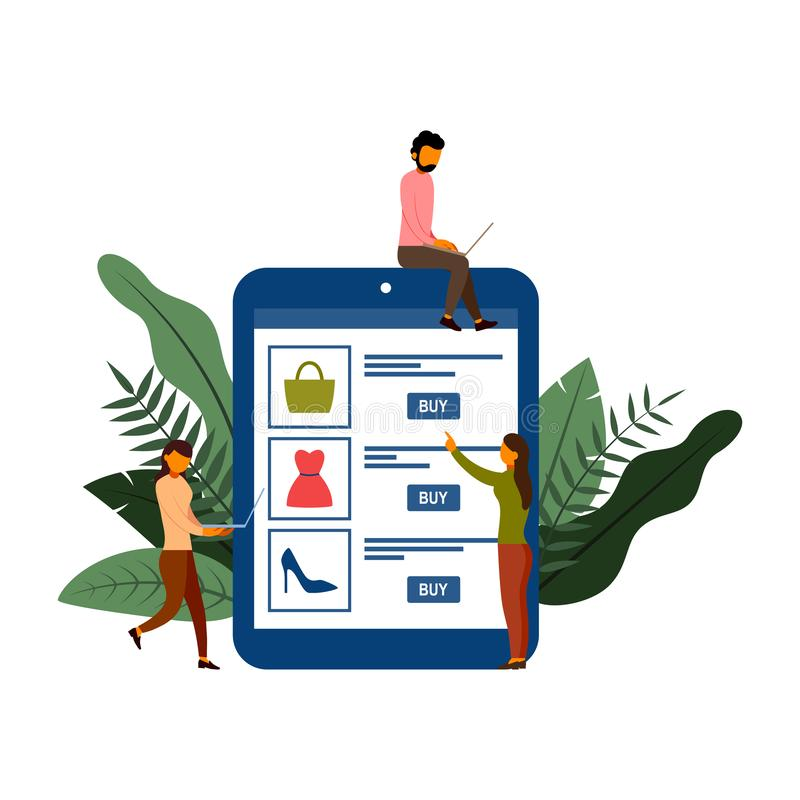 Acquisto online, concetto di commercio elettronico con il carattere, illustrazione di vettore illustrazione di stock