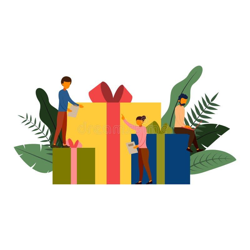Acquisto online, concetto di commercio elettronico con il carattere, illustrazione di vettore illustrazione vettoriale