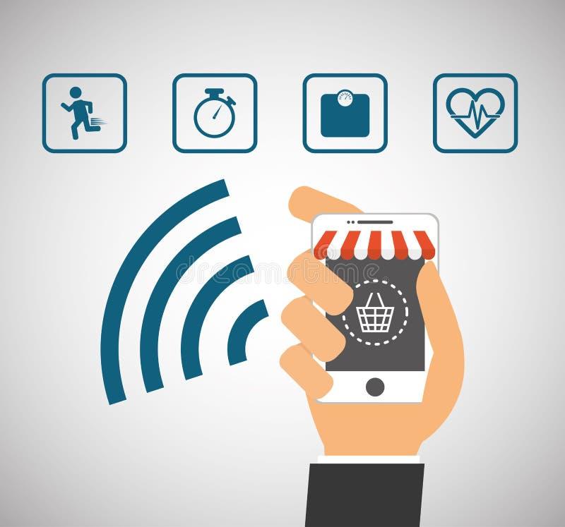 Acquisto online del telefono cellulare della tenuta della mano collegato illustrazione vettoriale
