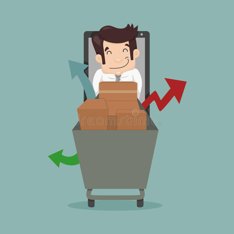 Acquisto online dell'uomo d'affari, concetto di commercio elettronico illustrazione di stock