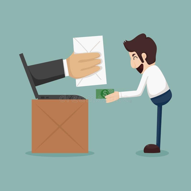 Acquisto online dell'uomo d'affari, concetto di commercio elettronico illustrazione vettoriale
