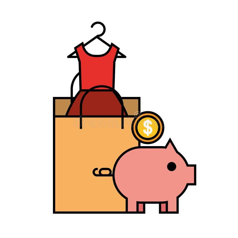 Acquisto online della moneta della moneta bancaria di porcellino salvadanaio del sacco di carta illustrazione vettoriale