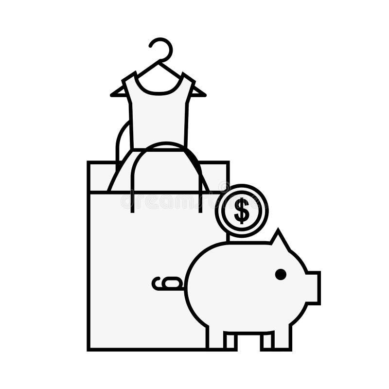 Acquisto online della moneta della moneta bancaria di porcellino salvadanaio del sacco di carta royalty illustrazione gratis