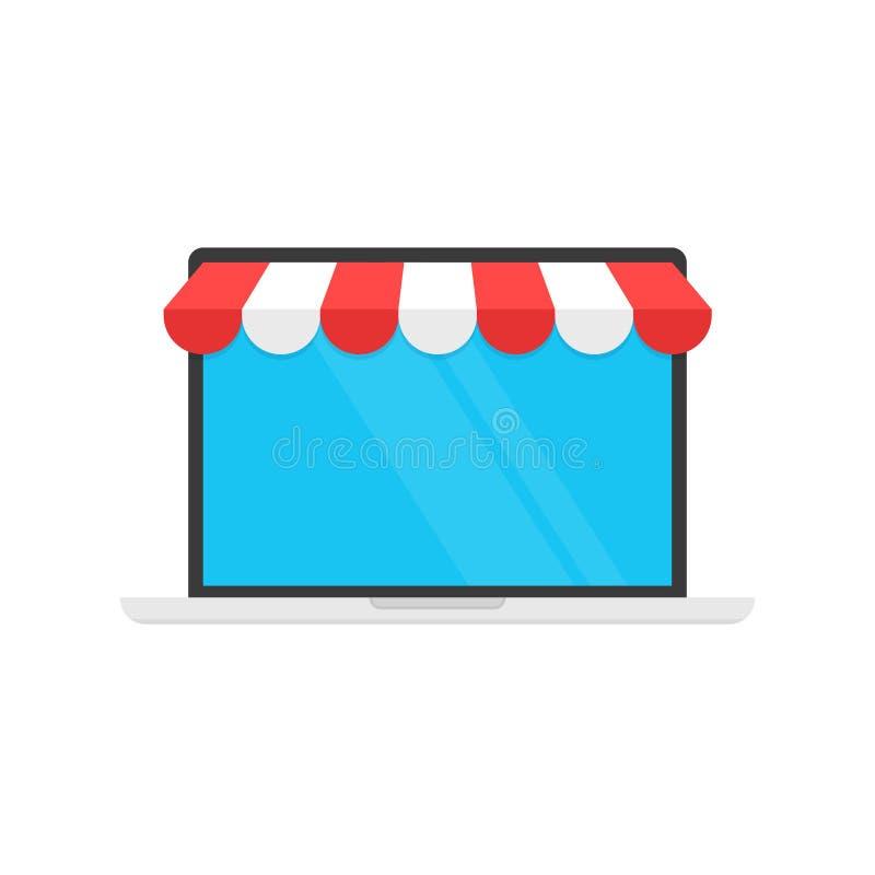 Acquisto online di concetto, icona del carretto sul monitor e tenda di stanza frontale di negozio Commercio elettronico, acquisto illustrazione vettoriale