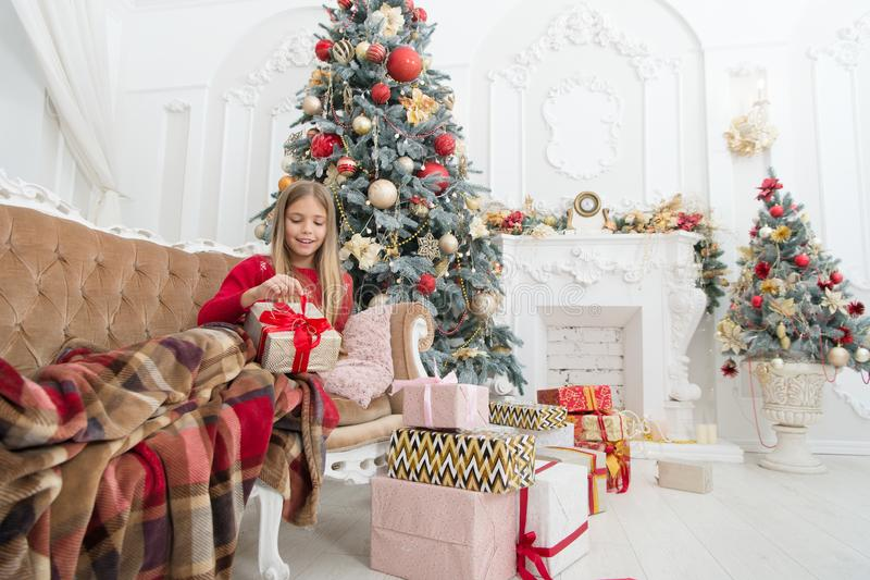 acquisto online di natale Festa della famiglia Albero di Natale e presente Nuovo anno felice Celebrando nuovo anno insieme Invern fotografie stock libere da diritti