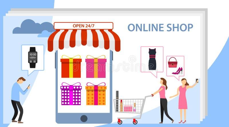 Acquisto online e concetto mobile di commercio Fondo online di compera di pendenza con il sacchetto della spesa ed il carretto Ac illustrazione vettoriale