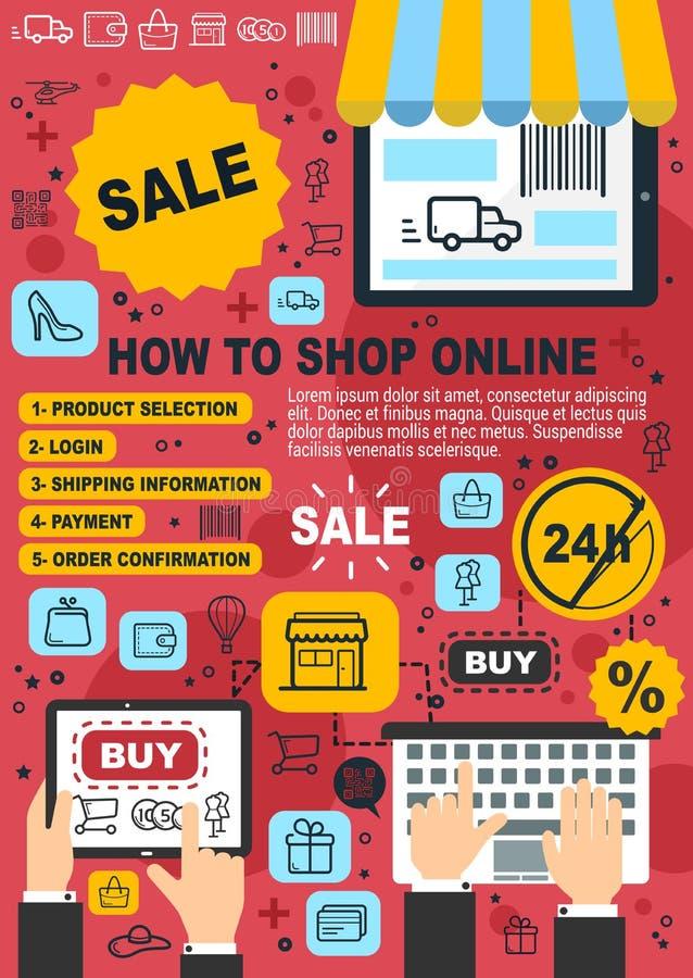 Acquisto online, guida dell'acquisto del deposito di web royalty illustrazione gratis