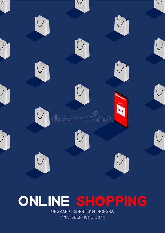 Acquisto online in smartphone con il manifesto isometrico di concetto del modello del sacchetto della spesa 3D, di promozione di  royalty illustrazione gratis
