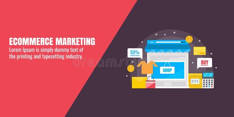Acquisto online, vendita di commercio elettronico, deposito online, tecnologia di vendita, concetto di strategia aziendale Insegn illustrazione vettoriale
