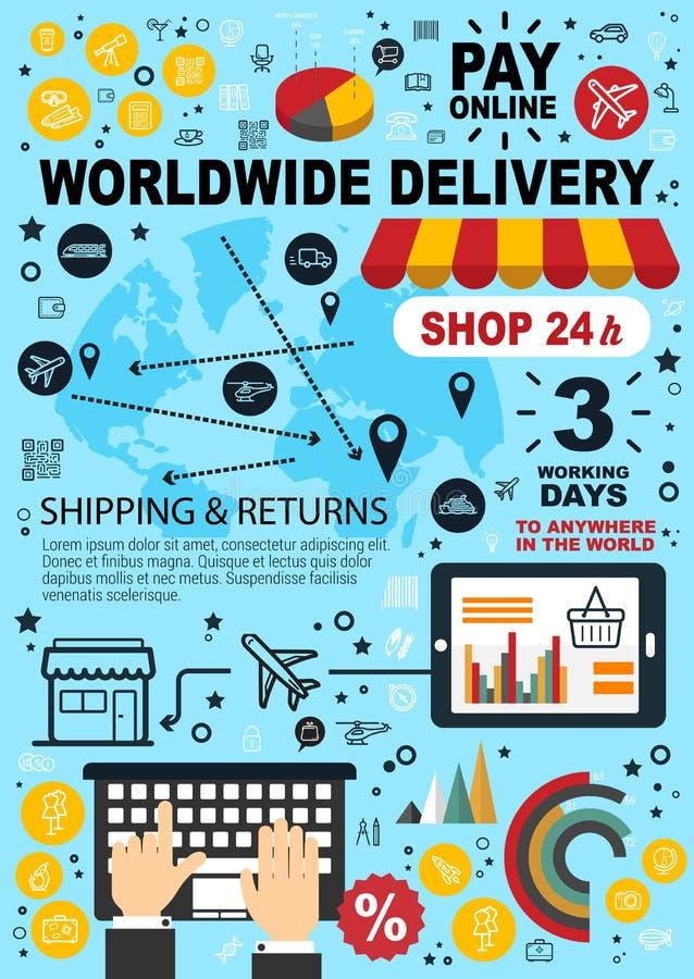 Acquisto, paga di commercio elettronico e consegna online illustrazione vettoriale