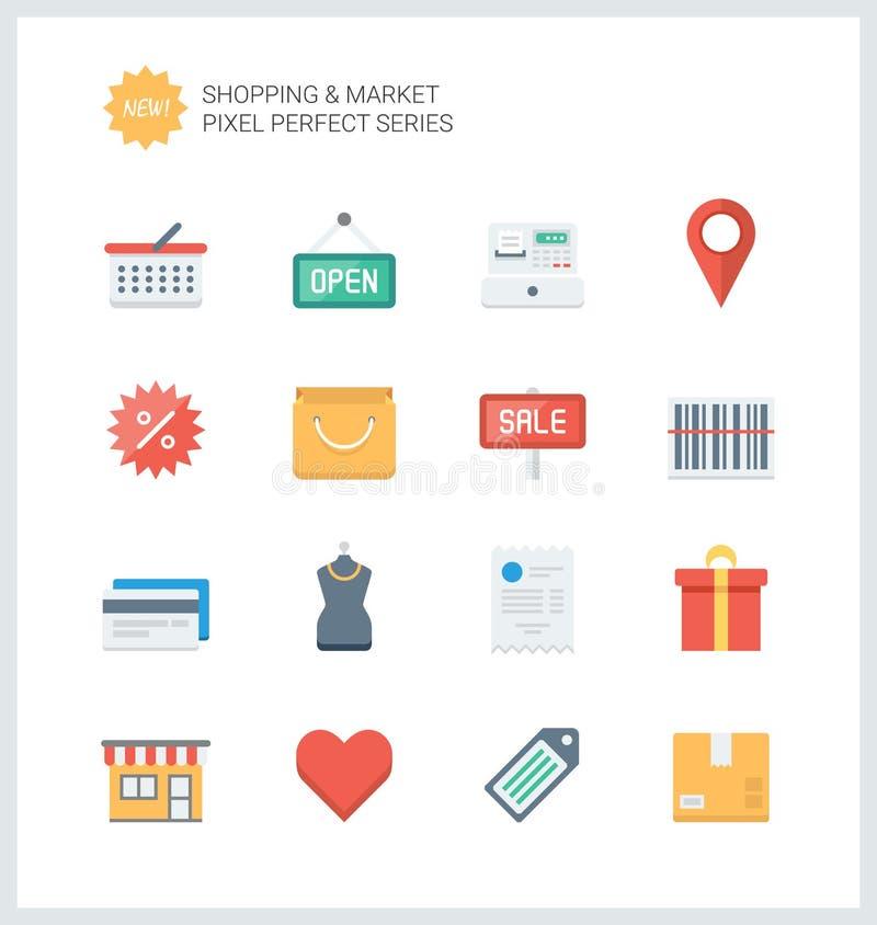Acquisto perfetto del pixel ed icone piane del mercato illustrazione di stock