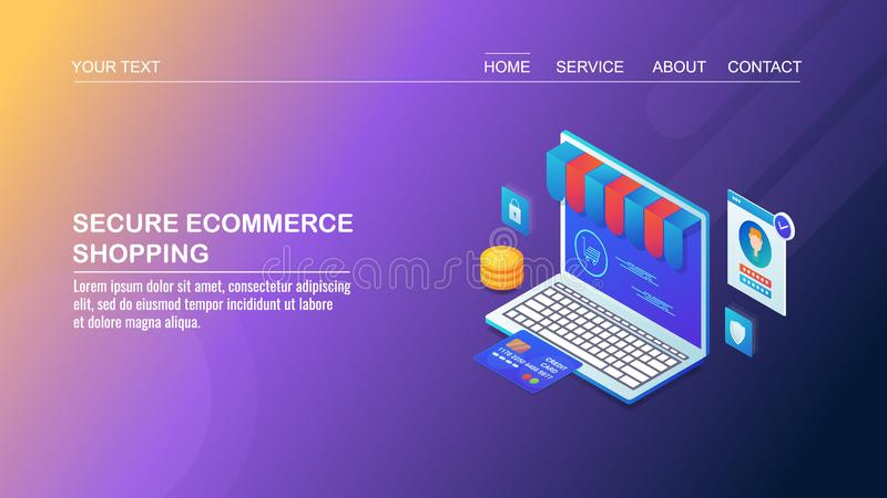 Acquisto sicuro di commercio elettronico, pagamento online sicuro, sicurezza cyber del computer, protezione dei dati del cliente, illustrazione vettoriale