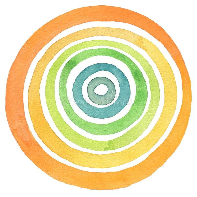 Acrílico abstracto y fondo pintado círculo de la acuarela ilustración del vector