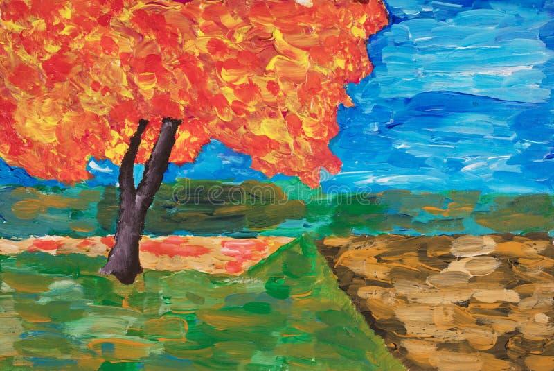 Acrílico e pintura a óleo da árvore do outono imagem de stock