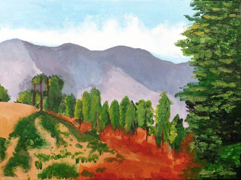 pintura de un paisaje hermoso de Kufri Shimla ilustración del vector