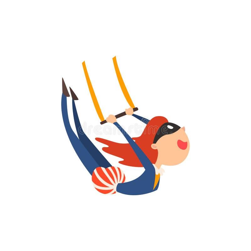 Acróbata aéreo del gimnasta que se realiza en el ejemplo del vector de la historieta de la demostración del circo ilustración del vector