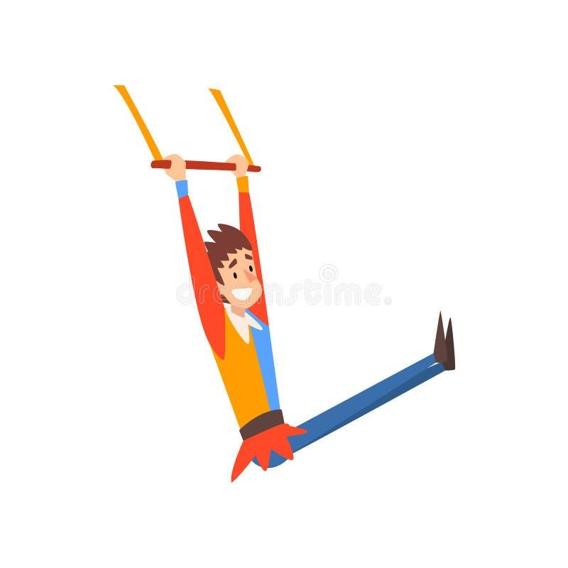 Acróbata aéreo sonriente del gimnasta del hombre que se realiza en el ejemplo del vector de la historieta de la demostración del  libre illustration