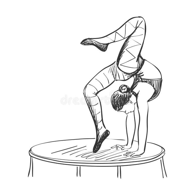 Acróbata de circo del garabato ilustración del vector