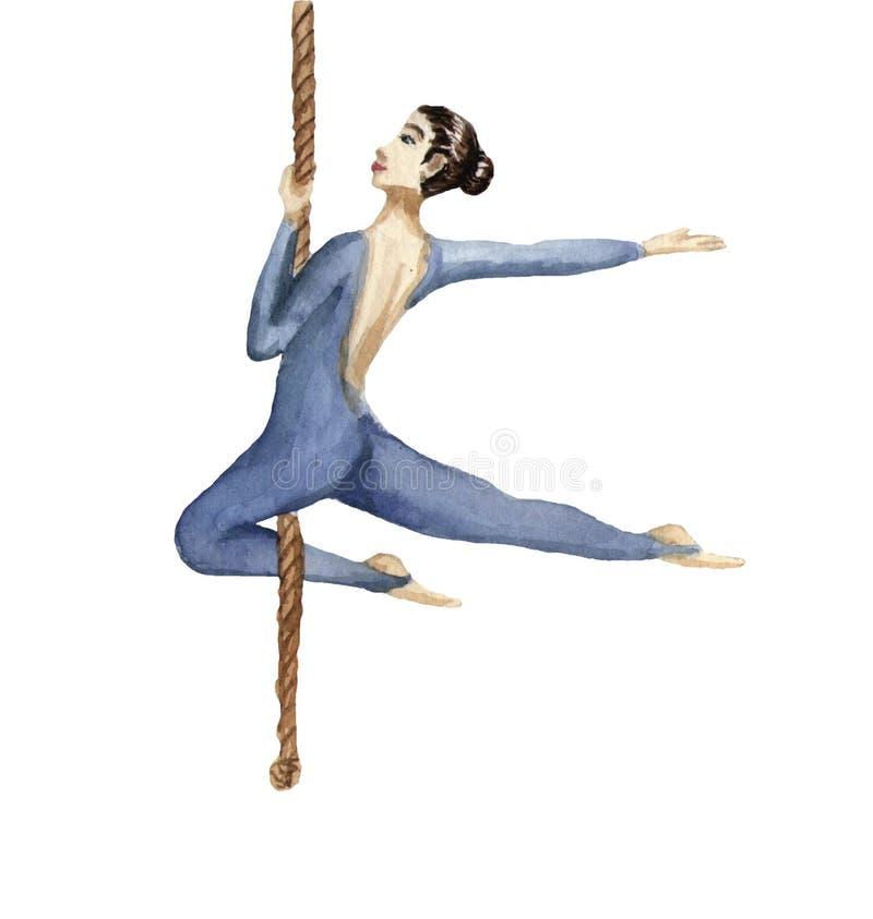Acróbata de circo en la cuerda Ejemplo de la acuarela en blanco ilustración del vector