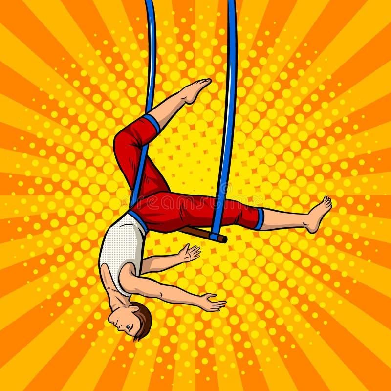 Acróbata de circo en vector del arte pop del trapecio stock de ilustración