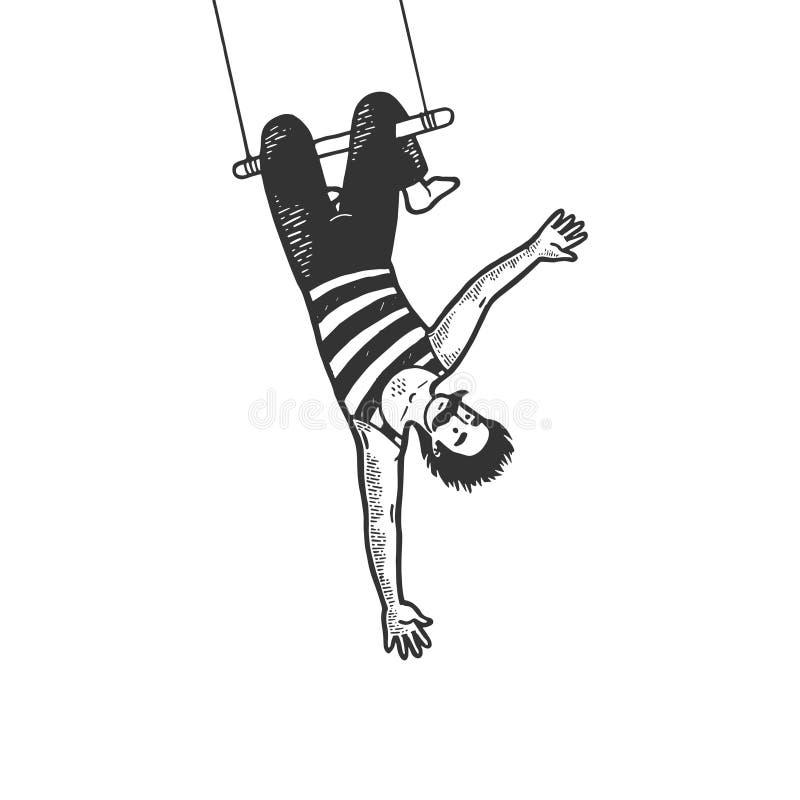 Acróbata de circo en vector del grabado del bosquejo del trapecio stock de ilustración
