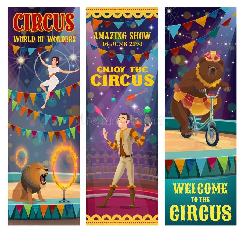 Acróbata de circo, juglar, oso entrenado, animal del león ilustración del vector