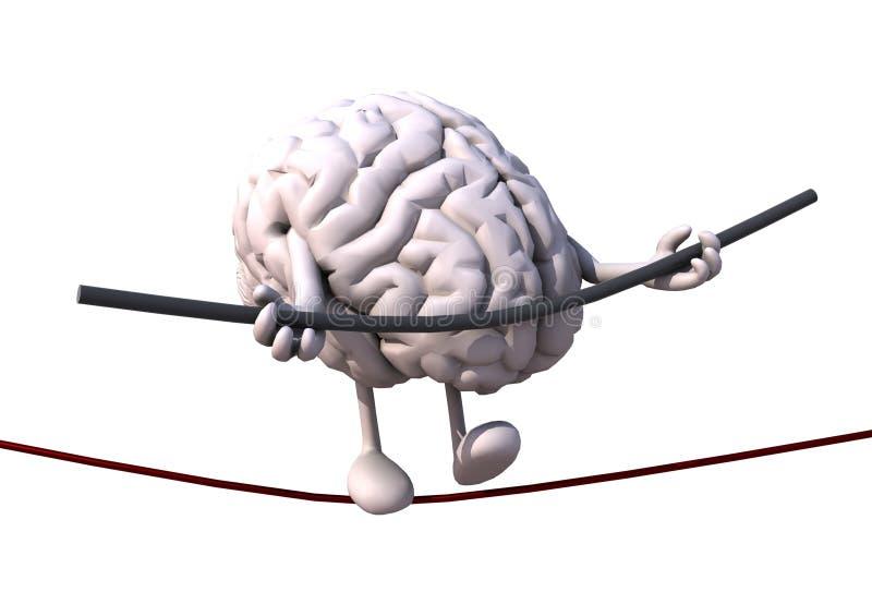 Acróbata del cerebro que camina en un alambre stock de ilustración
